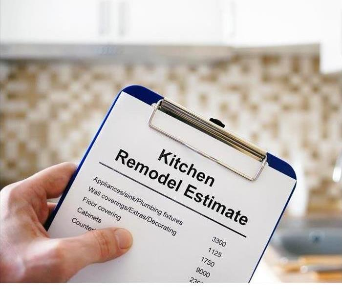 A clipboard is shown holding a kitchen remodel estimate
