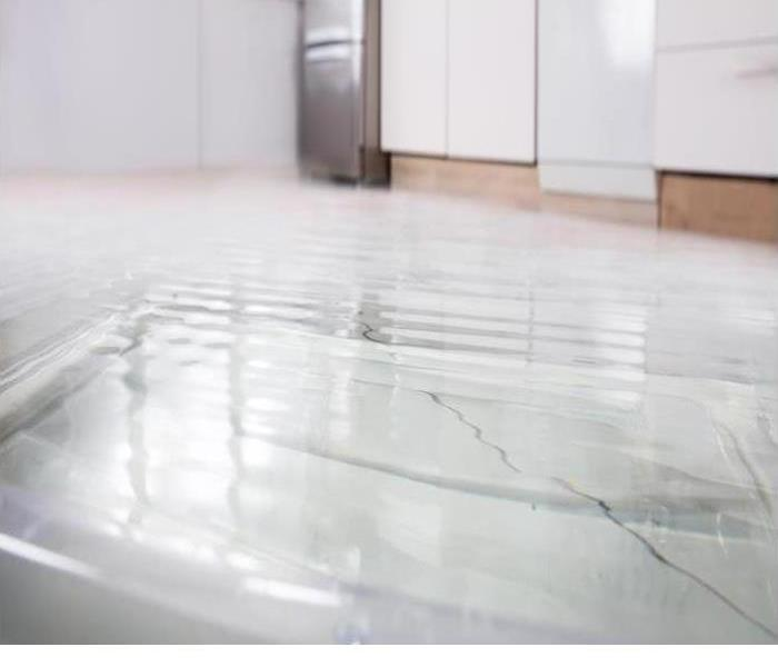 Water is shown on a floor